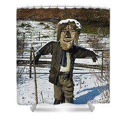 Snowcapped Scarecrow Shower Curtain by Anne Gilbert