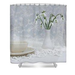 Snowdrops At Teatime Shower Curtain by Ann Garrett