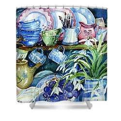 Snowdrops On A Kitchen Dresser Shower Curtain