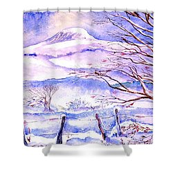 Snowfall On Eagle Hill Hacketstown Ireland  Shower Curtain