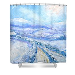 Snowfall On The Laneway  Shower Curtain by Trudi Doyle
