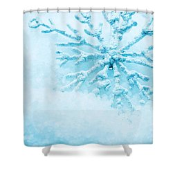 Snowflake In Snow Shower Curtain by Michal Bednarek