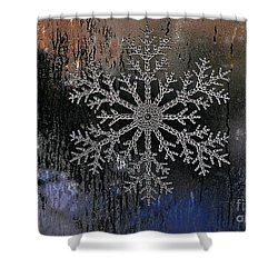 Snowflake On A Night Window Shower Curtain by Elaine Manley