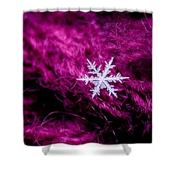 Snowflake On Magenta Shower Curtain