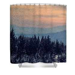 Snowing Sunset Shower Curtain by Melanie Lankford Photography