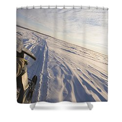 Snowmachiner Following Trail On Frozen Shower Curtain by Kevin Smith