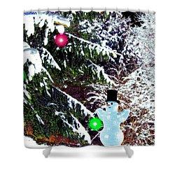 Shower Curtain featuring the digital art Snowman by Daniel Janda