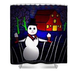 Snowman Shower Curtain by Latha Gokuldas Panicker