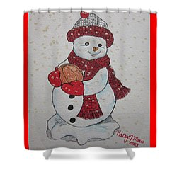 Snowman Playing Basketball Shower Curtain by Kathy Marrs Chandler