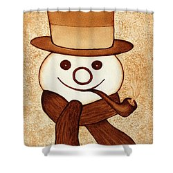 Snowman With Pipe And Topper Original Coffee Painting Shower Curtain by Georgeta  Blanaru