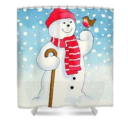 Snowmans Friend Shower Curtain by Lavinia Hamer