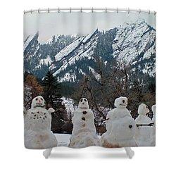 Flatiron Snowmen. Shower Curtain