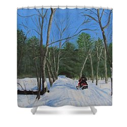 Snowmobile On Trail Shower Curtain