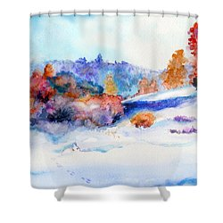 Snowshoe Day Shower Curtain by C Sitton