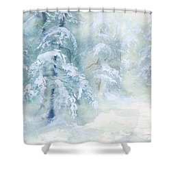 Shower Curtain featuring the painting Snowstorm by Joy Nichols