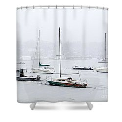 Snowstorm On Harbor Shower Curtain by Ed Weidman