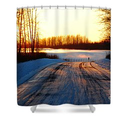 Snowy Anchorage Sunset Shower Curtain