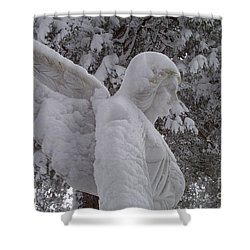 Snowy Angel Shower Curtain by Kevin Croitz