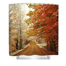 Snowy Autumn Road Shower Curtain