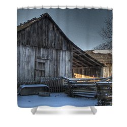 Snowy Barn Shower Curtain by Jane Linders