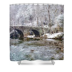 Snowy Bridge Along The Wissahickon Shower Curtain by Bill Cannon