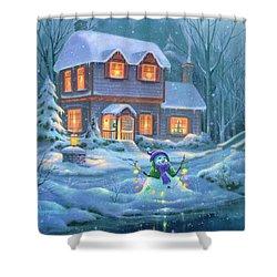 Snowy Bright Night Shower Curtain