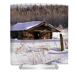 Snowy Cabin Shower Curtain