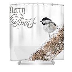 Snowy Chickadee Christmas Card Shower Curtain