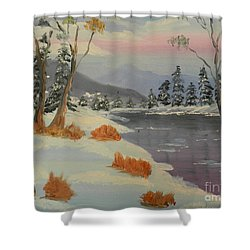 Snowy Day In Europe Shower Curtain by Pamela  Meredith