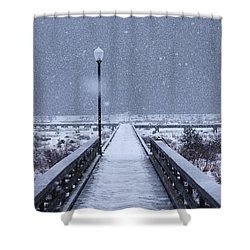 Snowy Day On The Boardwalk Shower Curtain