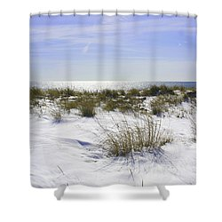 Shower Curtain featuring the photograph Snowy Dunes by Karen Silvestri