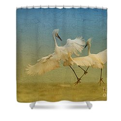 Snowy Egret Dance Shower Curtain