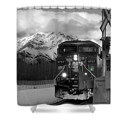 Snowy Engine Through The Rockies Shower Curtain