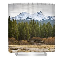 Shower Curtain featuring the photograph Snowy Fall In Yosemite by David Millenheft