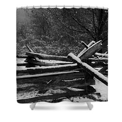 Snowy Fence Shower Curtain by Michael Porchik