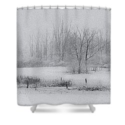 Snowy Fields Shower Curtain