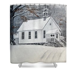 Snowy Gates Chapel  -little White Church - Ellijay Shower Curtain