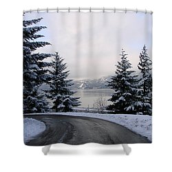 Shower Curtain featuring the photograph Snowy Gorge by Athena Mckinzie