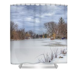 Snowy Lake Shower Curtain