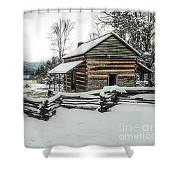 Shower Curtain featuring the photograph Snowy Log Cabin by Debbie Green