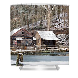 Snowy Morning In The Woods Shower Curtain