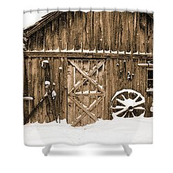 Snowy Old Barn Shower Curtain