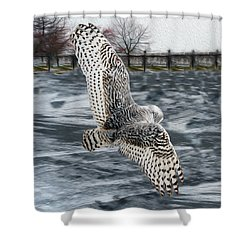 Snowy Owl Wingspan Shower Curtain