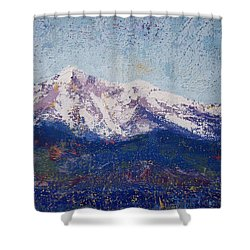 Shower Curtain featuring the painting Snowy Peaks by Margaret Bobb