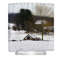 Snowy Pennsylvania Farm Shower Curtain by Bill Cannon
