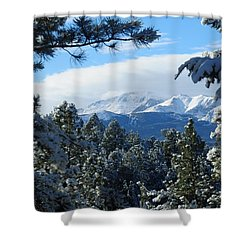 Snowy Pikes Peak Shower Curtain
