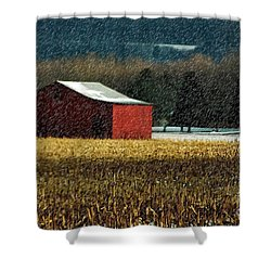 Snowy Red Barn In Winter Shower Curtain by Lois Bryan