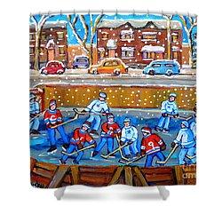Snowy Rink Hockey Game Montreal Memories Winter Street Scene Painting Carole Spandau Shower Curtain by Carole Spandau
