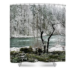 Snowy River And Bank Shower Curtain by Belinda Greb
