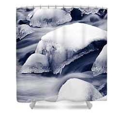 Shower Curtain featuring the photograph Snowy Rocks by Liz Leyden